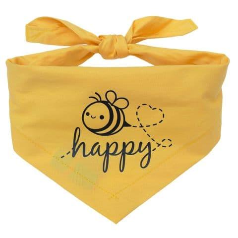 BEE HAPPY PRINTED DOG BANDANA