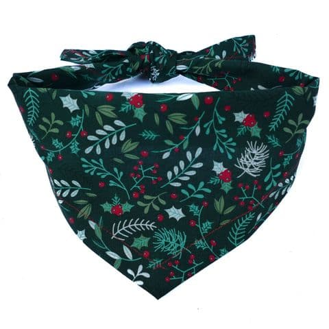 CHRISTMAS HOLLY  DOG BANDANA