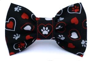 HEARTS AND PAWS DOG BOW TIE (BLACK)