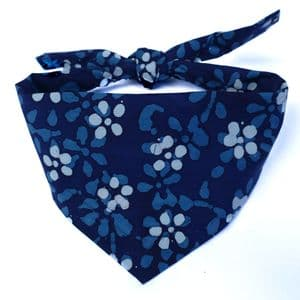 NAVY BLUE BATIK DOG BANDANA