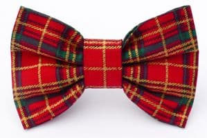 RED & GOLD TARTAN BOW TIE