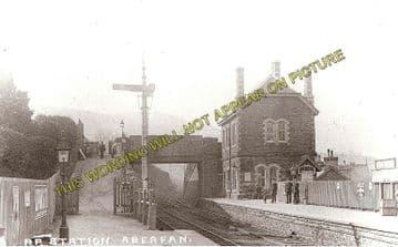 Aberfan Railway Station Photo. Quakers Yard - Troedyrhiw. Merthyr Line. (1)..