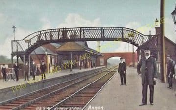 Annan Railway Station Photo. Dornock - Cummertrees. Gretna to Dumfries Line. (6)