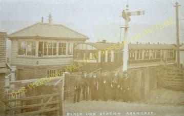 Black Lion Crossing Railway Station Postcard. Cwm Aman - Hirwain. (2)