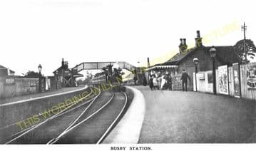 Busby Railway Station Photo. Clarkston - Thontonhall. Caledonian Railway. (1)..