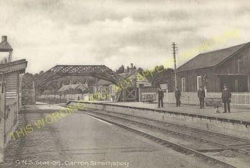 Carron Railway Station Photo. Aberlour - Knockando. Craigellachie Line. (5)