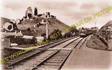 Corfe Castle Railway Station Photo. Wareham to Swanage Line. L&SWR. (1)