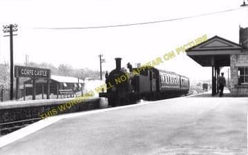 Corfe Castle Railway Station Photo. Wareham to Swanage Line. L&SWR. (9)