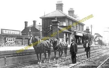 Leiston Railway Station Photo. Saxmundham - Aldeburgh. Great Eastern Railway. (1)..