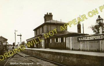 Marlesford Railway Station Photo. Wickham Market - Parham. Framlingham Line. (2)..