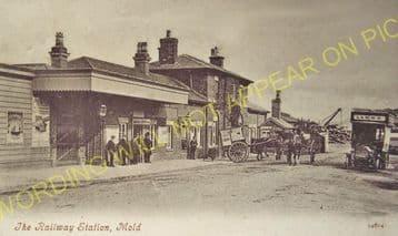 Mold Railway Station Photo. Rhydymwyn to Coed Talon and Llong Lines. L&NWR. (7)