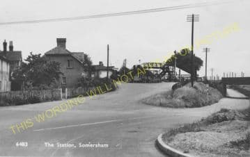 Somersham Railway Station Photo. St. Ives to Warboys and Chatteris Lines. (12)