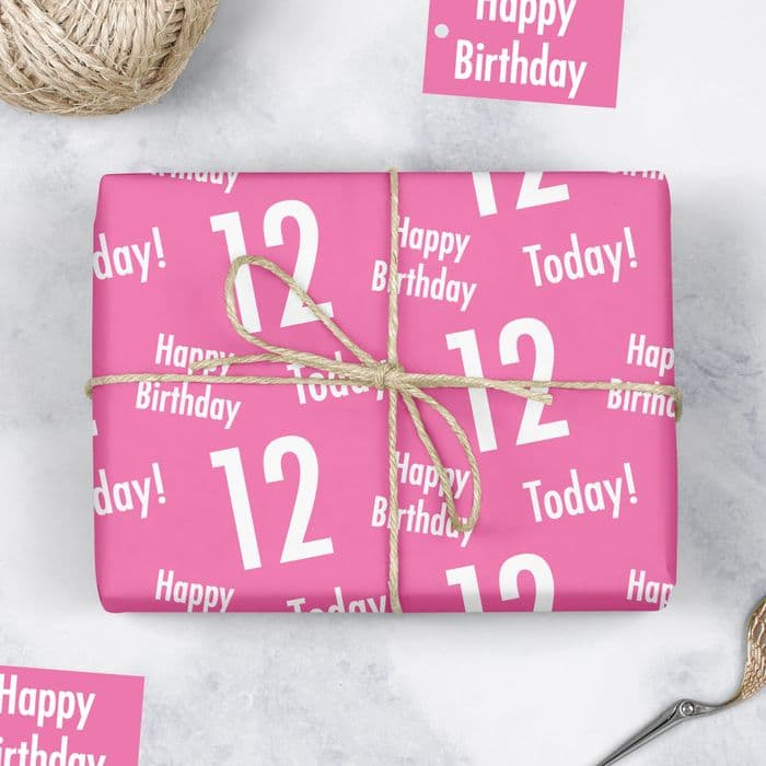 12th Birthday Pink Gift Wrapping Paper & Gift Tags - Urban Colour | Hunts England