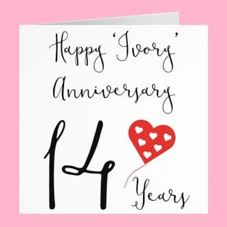 14th Wedding Anniversary Card - Happy 'Ivory' Anniversary - 14 Years - Red Heart Collection
