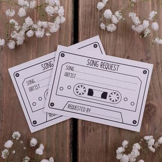 15 Cassette Song Requests Cards - Weddings, Party, Birthdays, Christmas, Retirement, Etc. - White