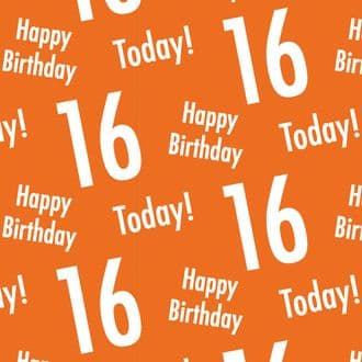 16th Birthday Orange Gift Wrapping Paper & Gift Tags (1 Sheet & 2 Tags) - Happy Birthday - 16 Today!