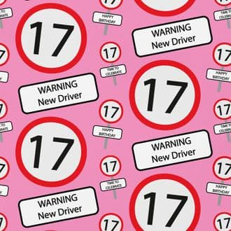 17th Birthday Wrapping Paper & Gift Tags (1 Sheet & 2 Tags) - 17 - Warning New Driver - Pink