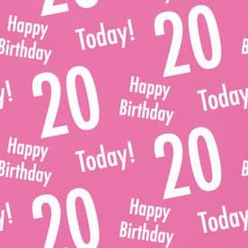 20th Birthday Pink Gift Wrapping Paper & Tags (1 Sheet & 2 Tags) - 'Happy Birthday' - '20 Today!'
