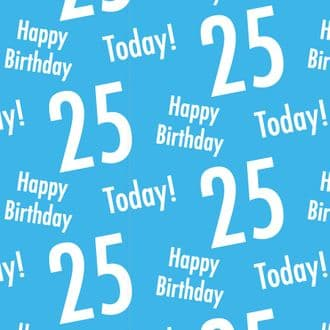 25th Birthday Blue Gift Wrapping Paper & Gift Tags (1 Sheet & 2 Tags) - Happy Birthday - 25 Today!