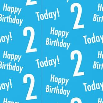 2nd Birthday Blue Gift Wrapping Paper & Gift Tags (1 Sheet & 2 Tags) - 'Happy Birthday' - '2 Today!'