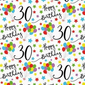 30th Birthday Gift Wrapping Paper & Gift Tags (1 Sheet & 2 Tags) - Iconic Collection