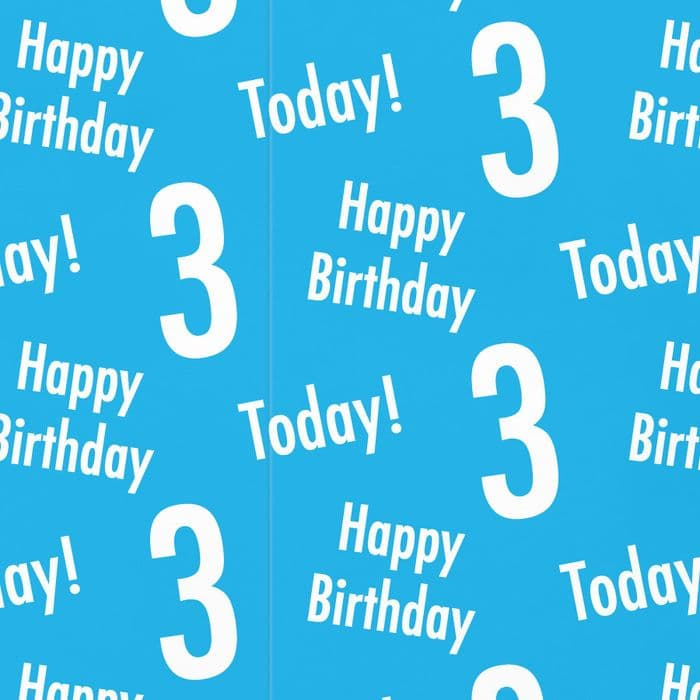 3rd Birthday Blue Gift Wrapping Paper & Gift Tags - Urban Colour | Hunts England