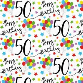 50th Birthday Gift Wrapping Paper & Gift Tags (1 Sheet & 2 Tags) - Iconic Collection