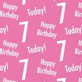 7th Birthday Pink Gift Wrapping Paper & Gift Tags (1 Sheet & 2 Tags) - 'Happy Birthday' - '7 Today!'