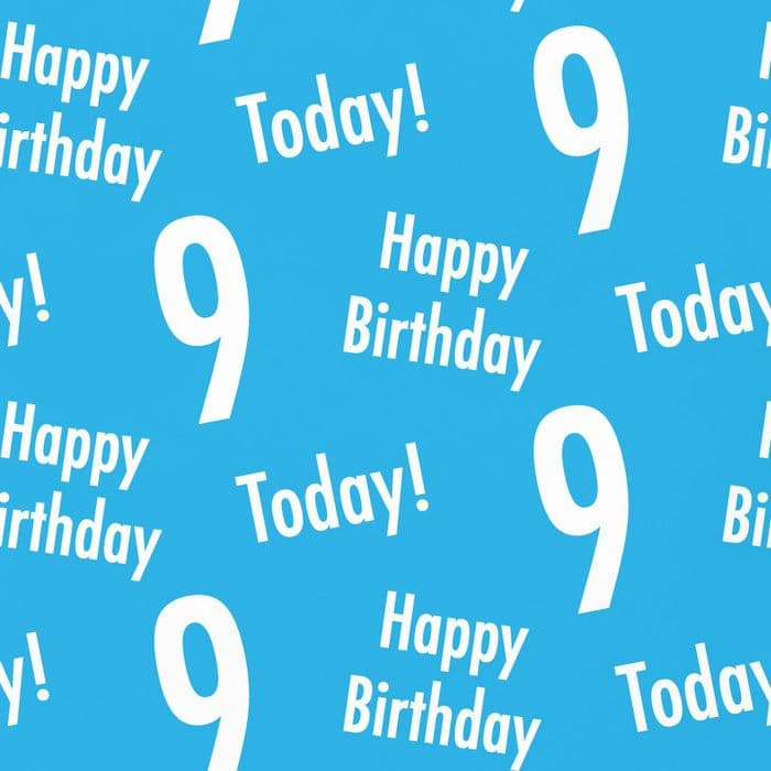 9th Birthday Blue Gift Wrapping Paper & Gift Tags - Urban Colour | Hunts England