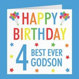 Godson 4th Birthday Card - 'Happy Birthday' - 'Best Ever Godson' - Colourful Collection