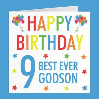Godson 9th Birthday Card - 'Happy Birthday' - 'Best Ever Godson' - Colourful Collection