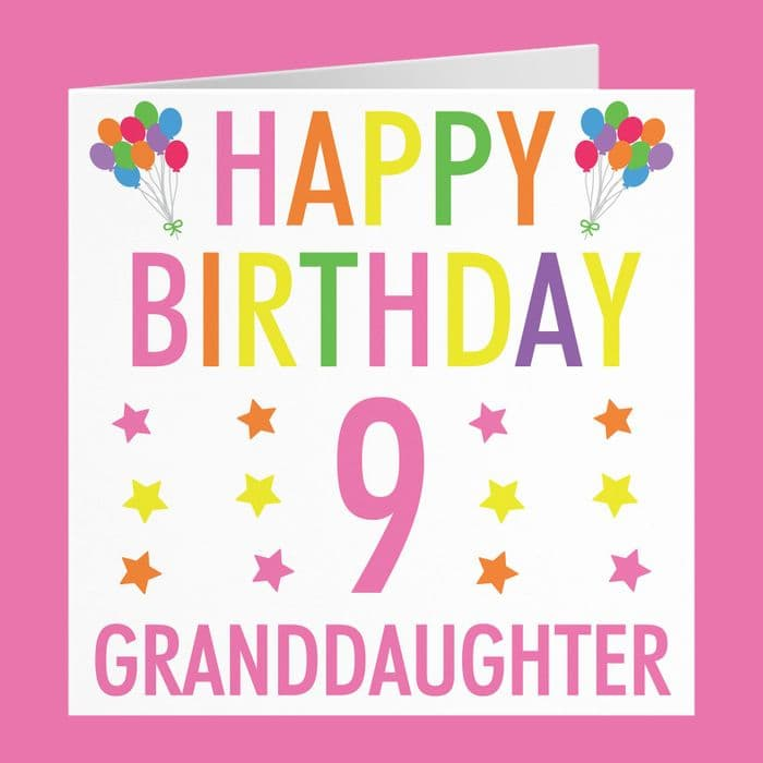 Granddaughter 9th Birthday Card - Colourful | Hunts England