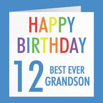 Grandson 12th Birthday Card - 'Happy Birthday' - 'Best Ever Grandson' - Colourful Collection