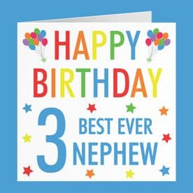 Nephew 3rd Birthday Card - 'Happy Birthday' - 'Best Ever Nephew' - Colourful Collection