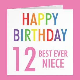 Niece 12th Birthday Card - 'Happy Birthday' - 'Best Ever Niece' - Colourful Collection