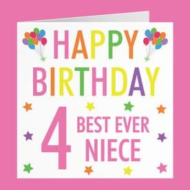 Niece 4th Birthday Card - 'Happy Birthday' - 'Best Ever Niece' - Colourful Collection