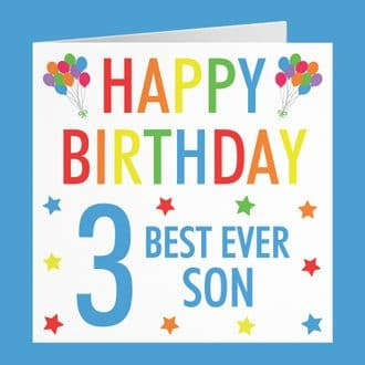 Son 3rd Birthday Card - 'Happy Birthday' - 'Best Ever Son' - Colourful Collection