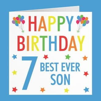 Son 7th Birthday Card - 'Happy Birthday' - 'Best Ever Son' - Colourful Collection