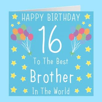 Brother 16th Birthday Card - Happy Birthday - 16 - Iconic Collection