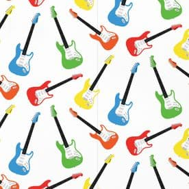 Electric Guitar Music Birthday Gift Wrapping Paper And Gift Tags (1 Sheet & 2 Tags) - Iconic
