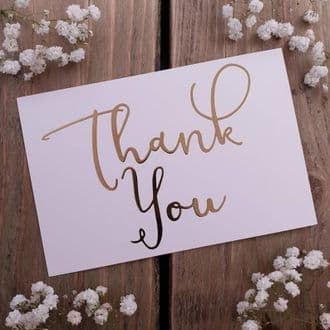 Gold Foil White Thank You Cards & Envelopes - 1 Pack Of 8 Cards - Postcard Style