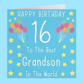 Grandson 16th Birthday Card - To The Best Grandson In The World - Iconic Collection