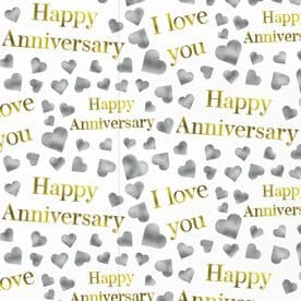 Happy Anniversary Romantic Wrapping Paper & Gift Tags (1 Sheet & 2 Gift Tags) - Silver Hearts