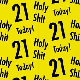 Holy Shit 21st Birthday Gift Wrapping Paper And Gift Tags (1 Sheet & 2 Gift Tags)