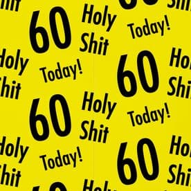 Holy Shit 60th Birthday Gift Wrapping Paper And Gift Tags (1 Sheet & 2 Gift Tags)