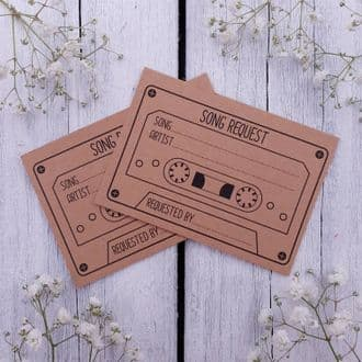 Kraft Cassette Song Requests Cards - Weddings, Party, Birthdays, Retirement, Etc. - 15 Cards