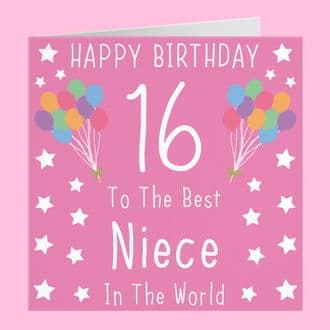 Niece 16th Birthday Card - Happy Birthday - 16 - To The Best Niece In The World - Iconic Collection