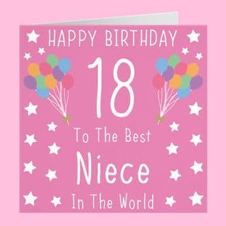 Niece 18th Birthday Card - Happy Birthday - 18 - To The Best Niece In The World - Iconic Collection