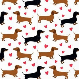 Romantic Dachshund Wrapping Paper & Tags (1 Sheet & 2 Tags) - Valentine's Day, Birthday, Anniversary
