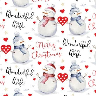 Romantic Wife Snowman Christmas Wrapping Paper & Gift Tags (1 Sheet & 2 Tags) - Festive Collection